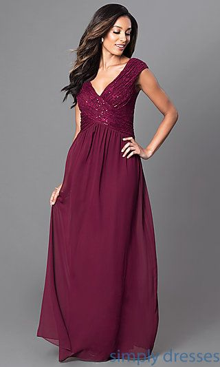 5bc92a2dd80f Shop long sequined-lace bodice prom dresses at Simply Dresses. Cheap formal  evening gowns under $100 with cap sleeves and v-necklines.