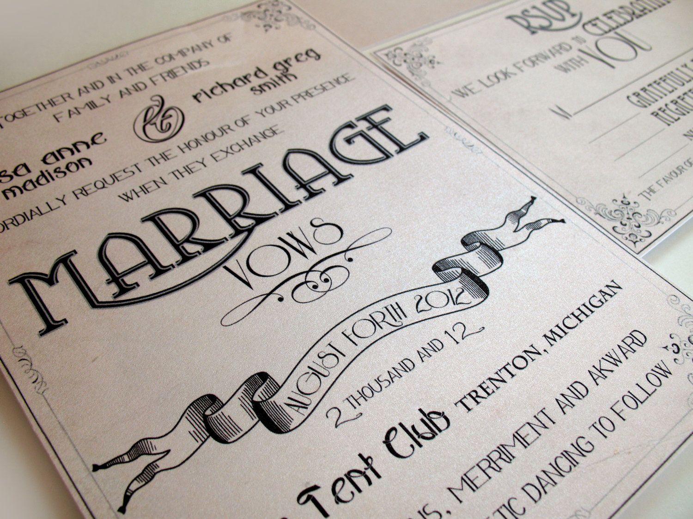 Art Deco Wedding invitations - Gatsby art nouveau Manifesto set ...