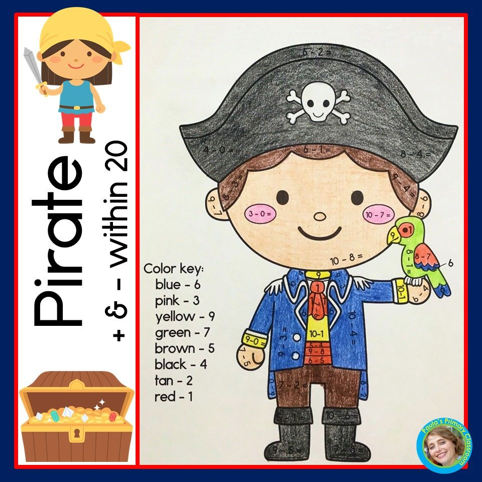 Addition And Subtraction Within 20 Worksheets Pirate Theme For Kindergarten And First Grade Addition And Subtraction Kindergarten Math Activities Pirate Theme [ 960 x 960 Pixel ]