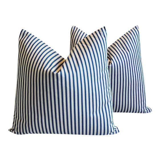 French Blue & White Stripe Ticking Feather/Down Pillows 24
