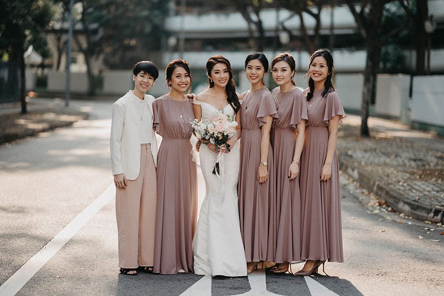 Singapore Influencer Mongchin And Matthias Gorgeous Solemnisation In Singapore Bespoke Wedding Dress Couture Bridesmaid Dresses Bridesmaid