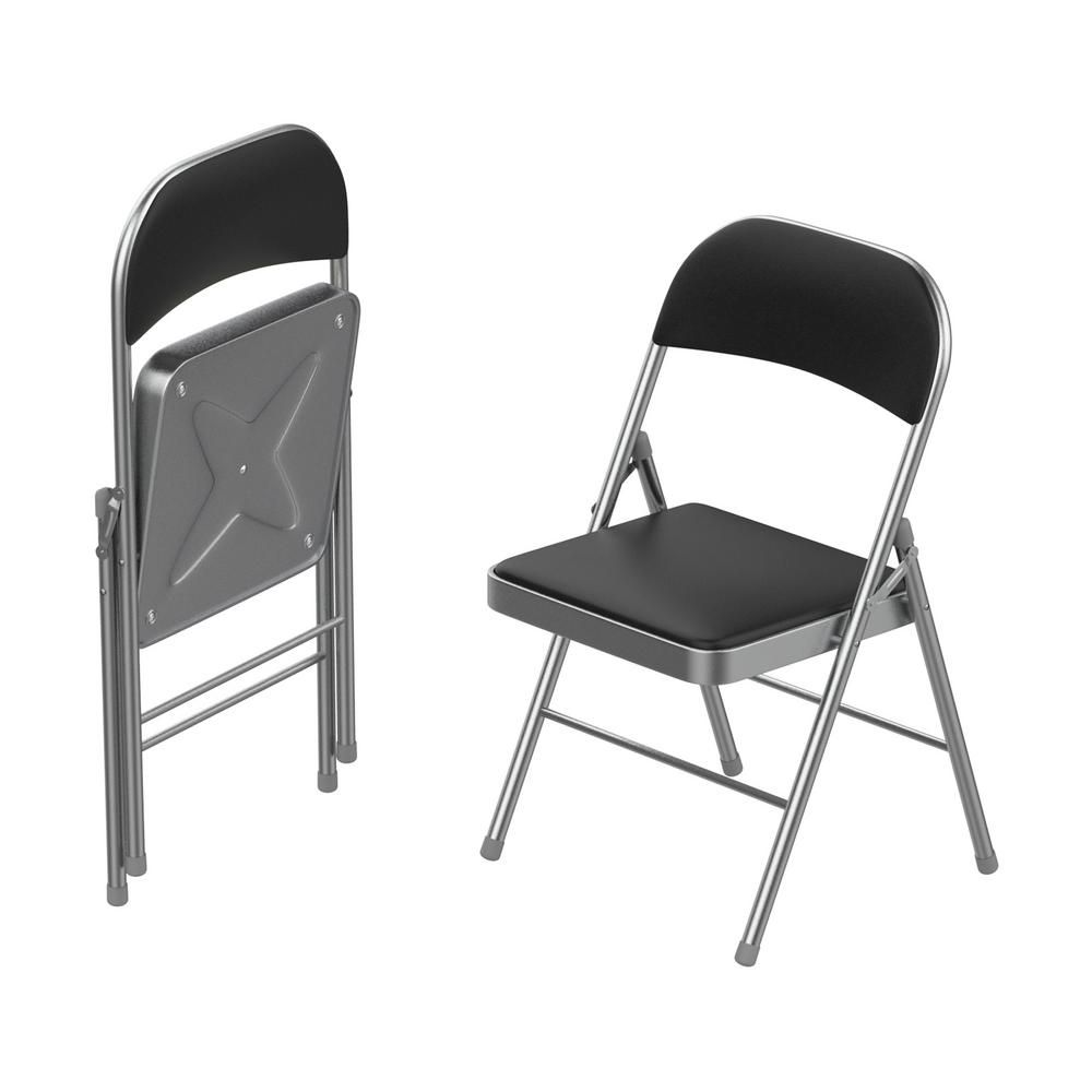 Lavish Home Brushed Silver Vinyl Padded Seat Folding Folding Chair Set Of 2 Hw0200130 Padded Folding Chairs Folding Chair Metal Outdoor Chairs
