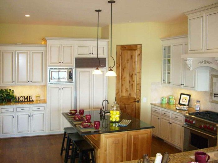 Wall Color Pale Yellow Walls Of Kitchen Island Pendant Lighting Kitchen Kitchen Wall Design Yellow Kitchen Walls Yellow Kitchen Paint
