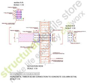 Horizontal Timber Beam Connection To Concrete Column Concrete Column Timber Beams Beams