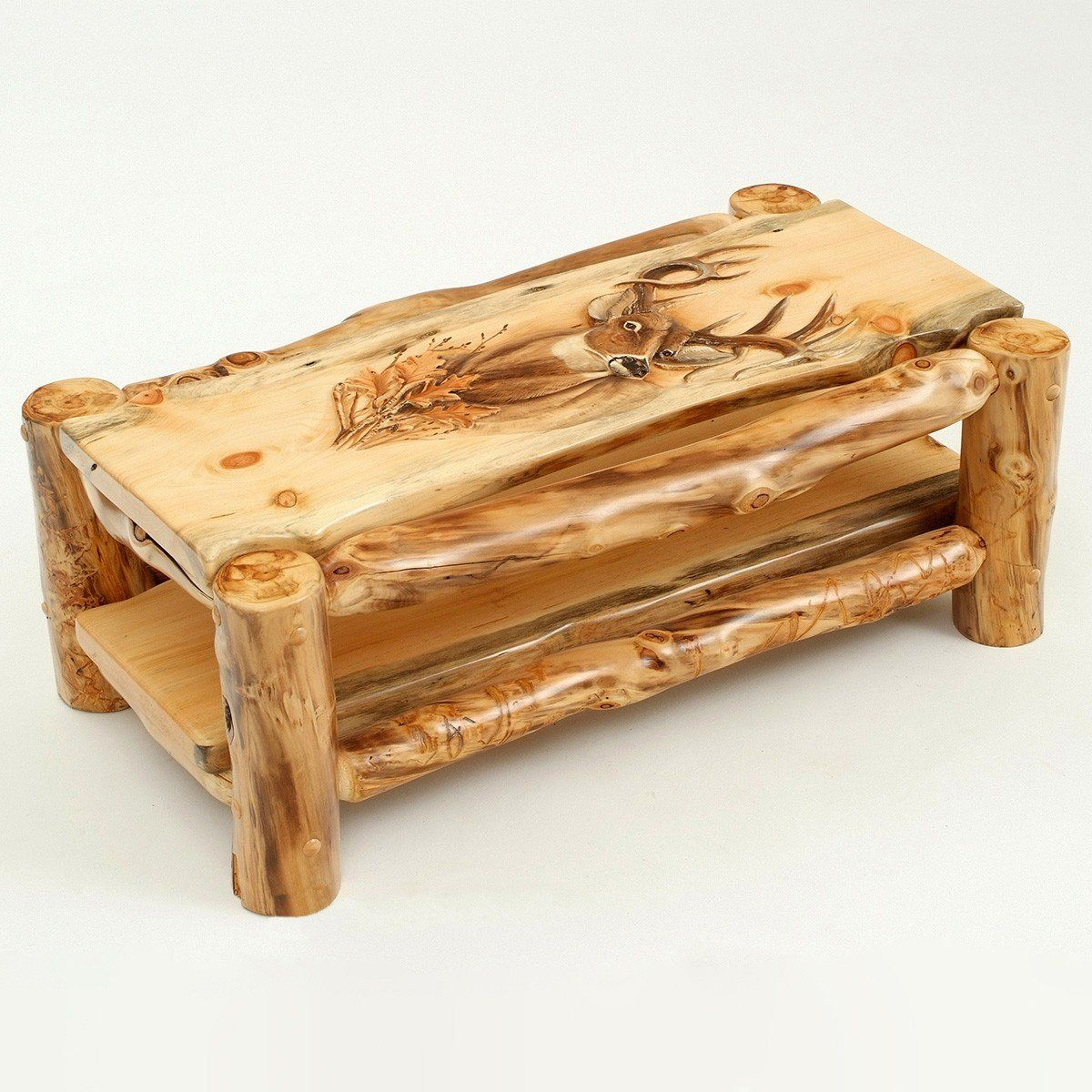 Carved Aspen Wildlife Mountain Man Coffee Table In 2020 Rustic
