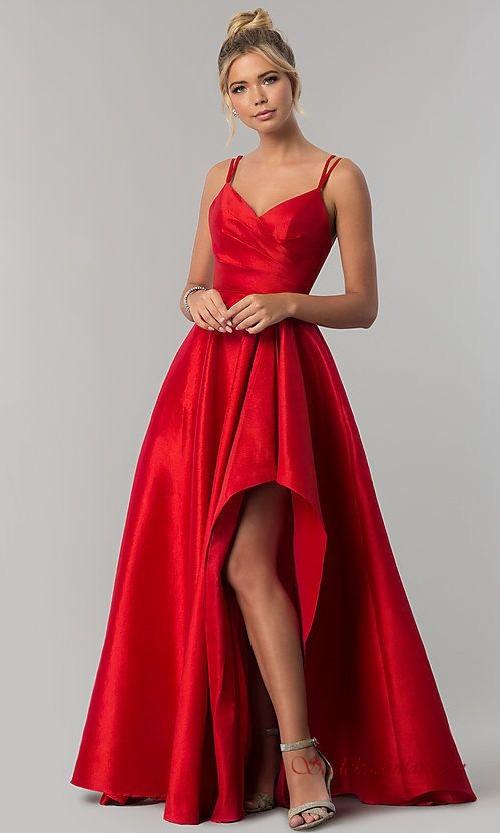 2020 Abiye Modelleri Ve Gece Elbiseleri Kirmizi Saten Uzun Ip Askili V Yakali Yirtmacli The Dress Resmi Elbise Elbise