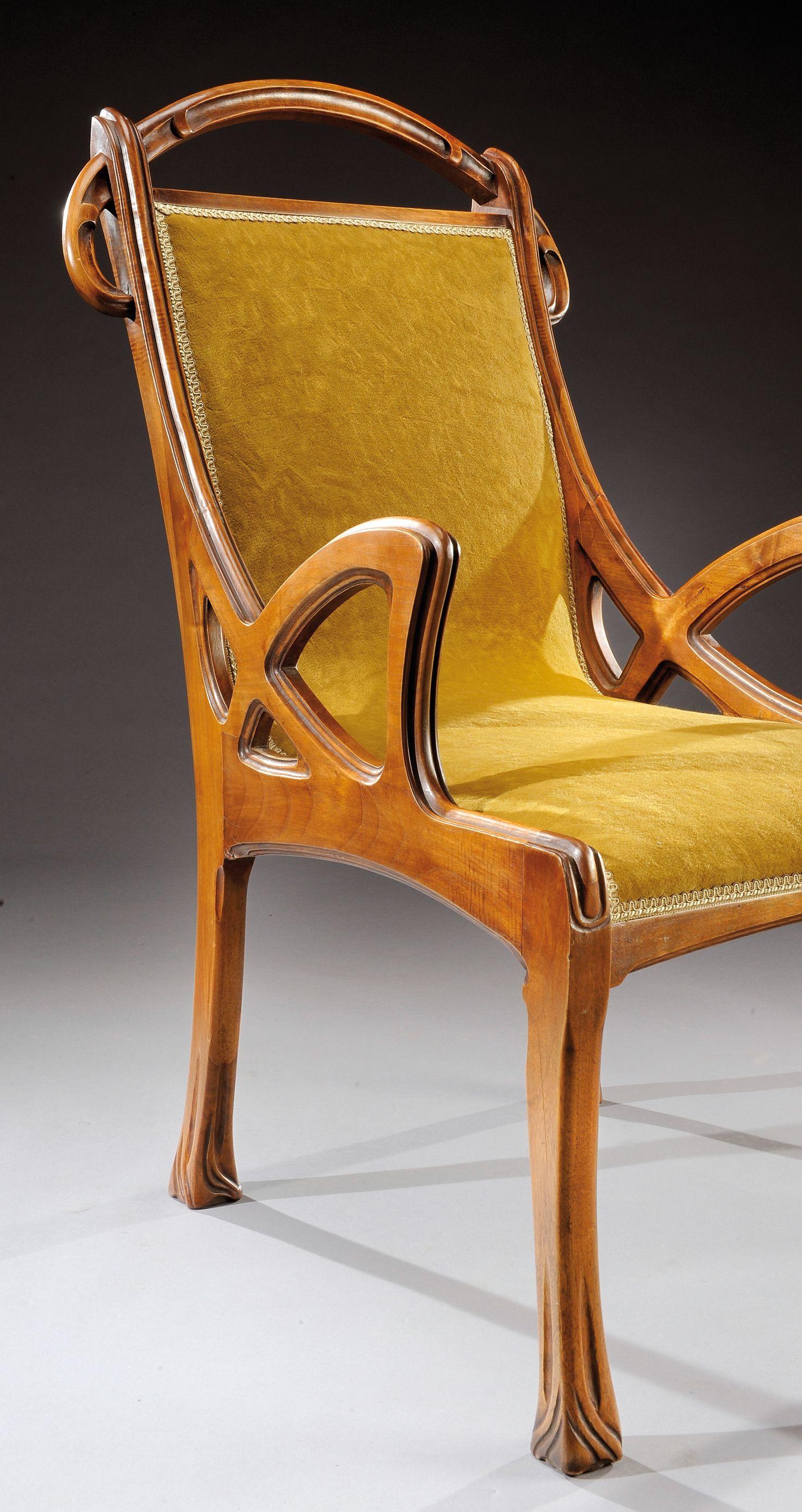 Chaise Style Art Nouveau eugene gaillard (1862-1932) exceptionnel ensemble de salon