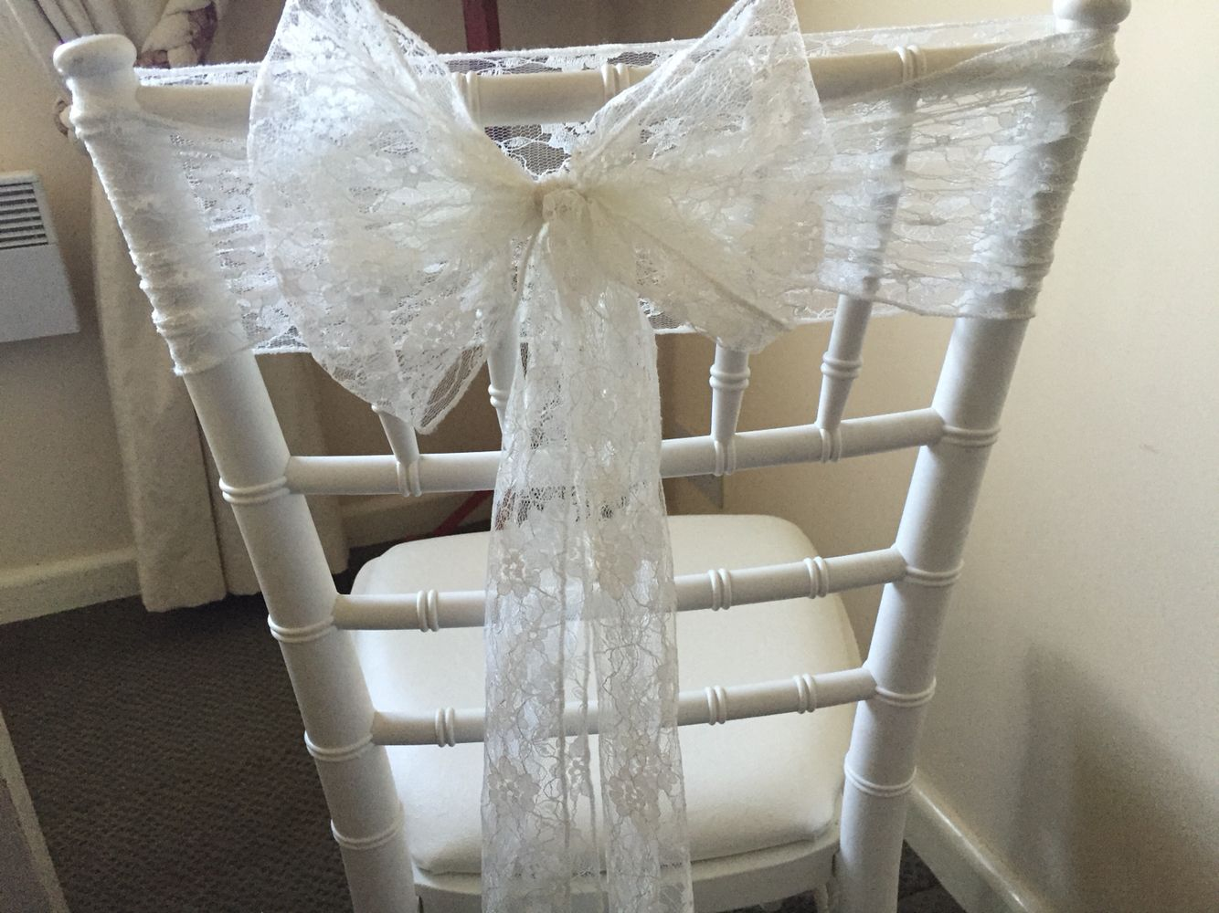 Lace Chair Sashes Available To Hire From Www Tohaveandtohireweddings Com Chair Sashes Ceiling Decor Wedding Decorations