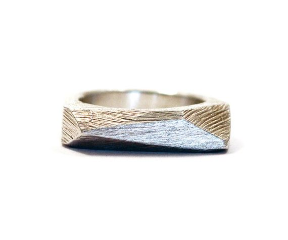 Silver Faceted Bar Ring by kerrieyeung on Etsy