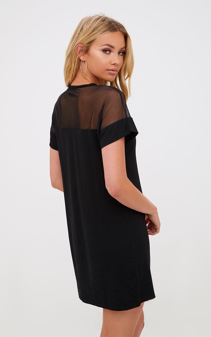 c7dfb55290e Black Jersey   Mesh T Shirt Dress in 2019