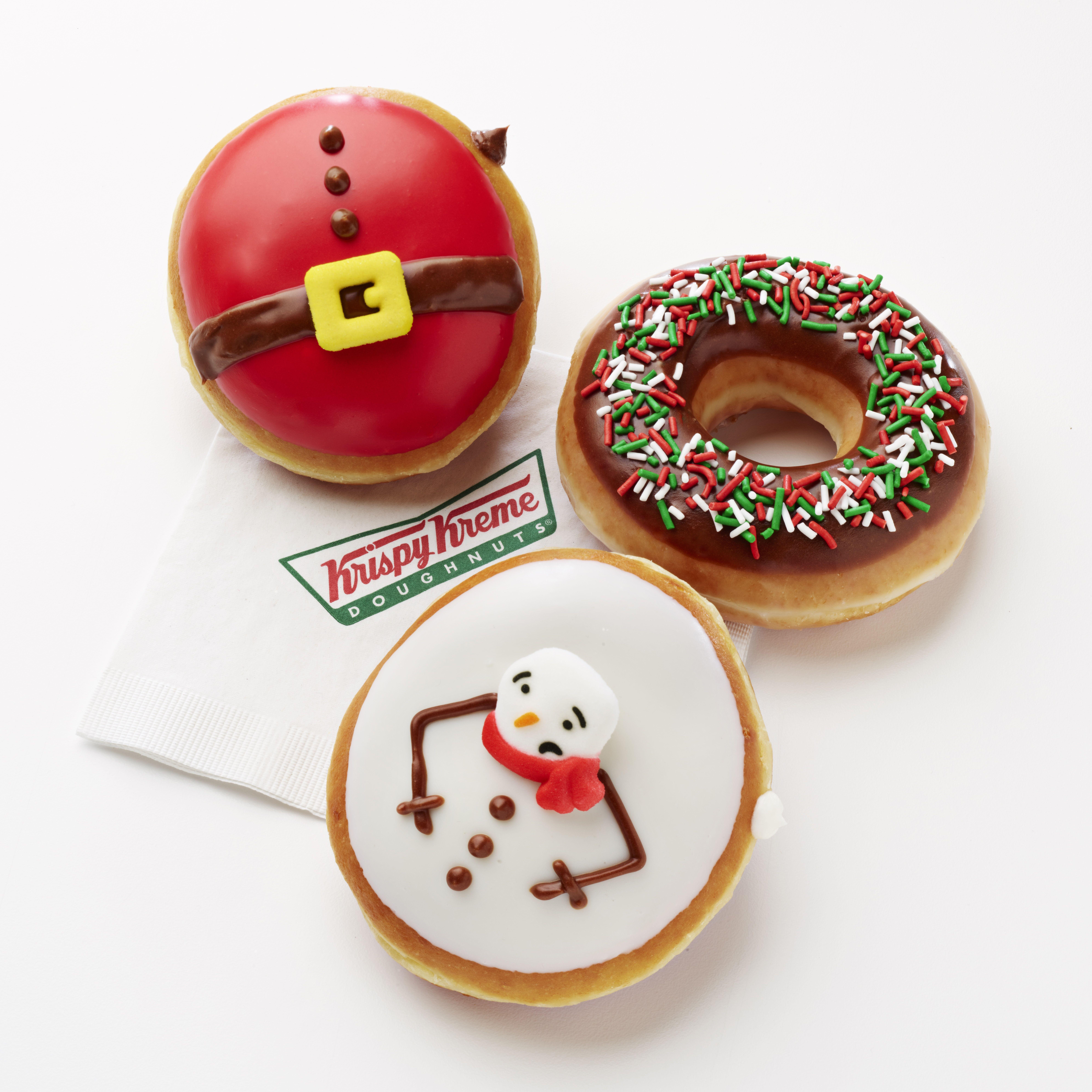 Krispy Kreme S Newest Holiday Doughnuts Are Probably Fattening Up Santa Christmas Donuts Holiday Donuts Krispy Kreme