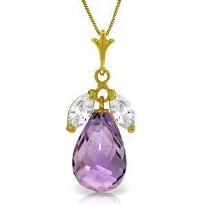 14K Solid Gold Firelight Amethyst White Topaz Necklace - 4430