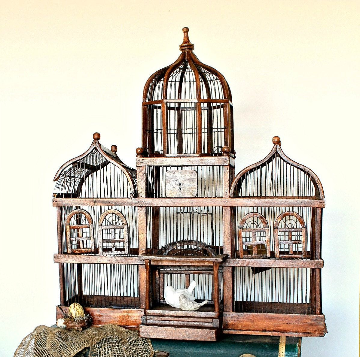 Classic Vintage French 55 Square Two Tier Brass Glass: Antique Large Domed Victorian Style Wood And Wire Birdcage