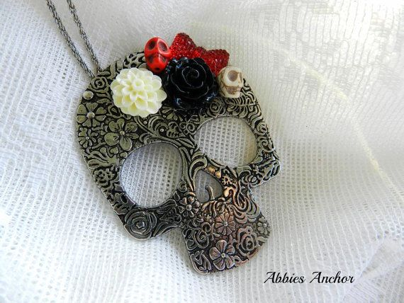 Large Day of the Dead Skull Necklace with Sugar by AbbiesAnchor, $15.00