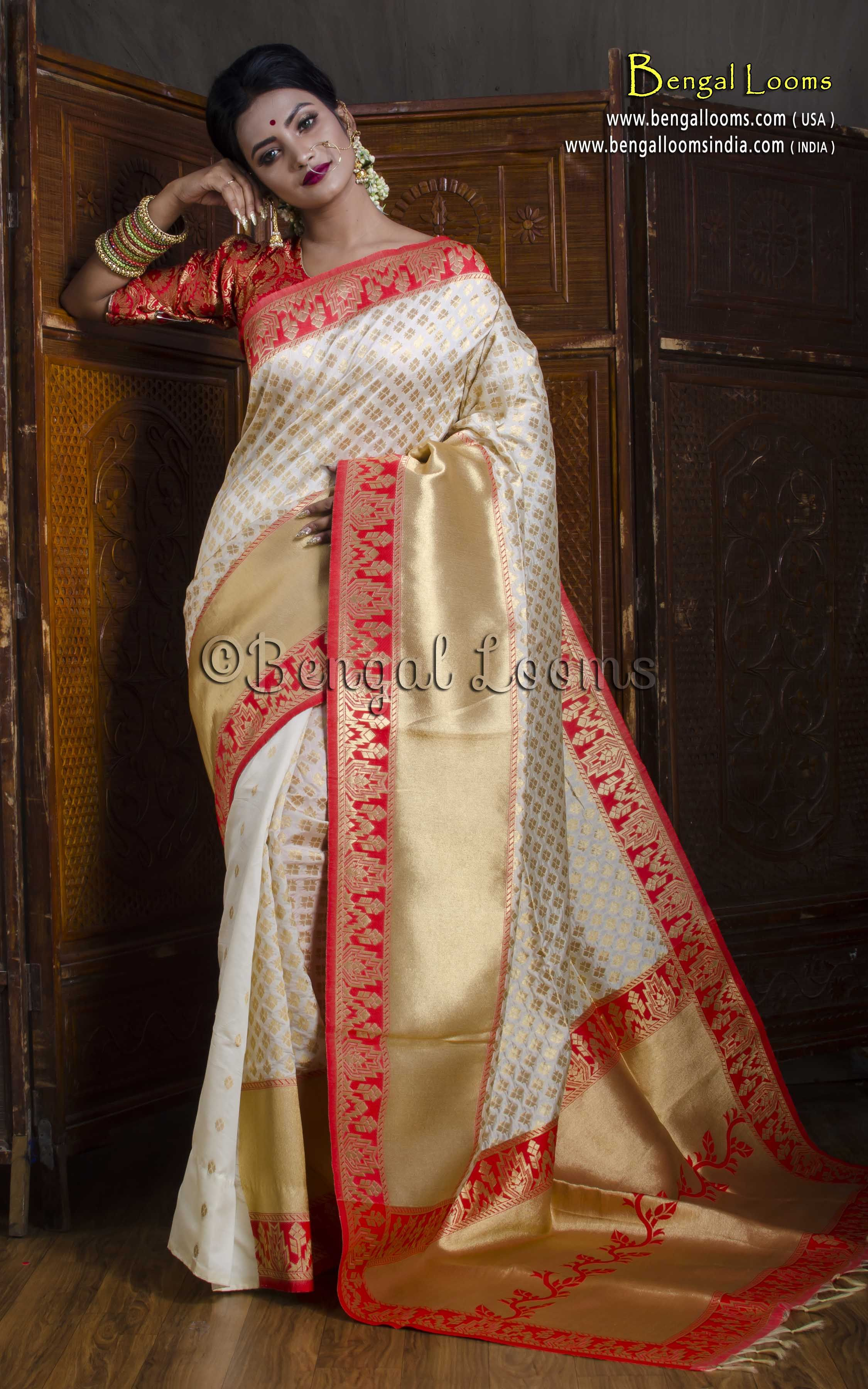 1a7857477806a Art Silk Brocade Banarasi Saree in Off White