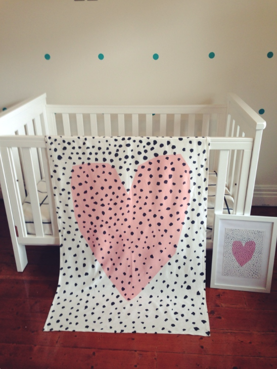 Spotty Heart Throw blanket  pre washed to test for shrinkage.   Recommended washing instructions: Hand-wash if possible or cold machine wash with similar colours on a slow spin cycle.  keep visiting my store for new designs or visit creamempire@instagram.com  Fabric Designs are made by CreamEmpire
