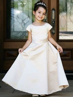 c1a8294bf Ivory Satin Bridal Communion GownFlower Girl Dresses, Ships Today, Ivory,  A-Line Girls Dresses, Satin Dresses, Long Length Dresses, All Dresses
