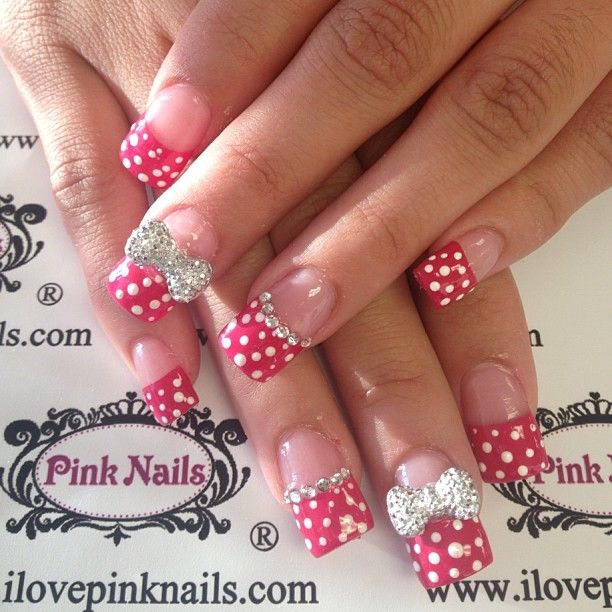 Polka Dot and Diamond Nails without that bow | Hair & Beauty, you ...