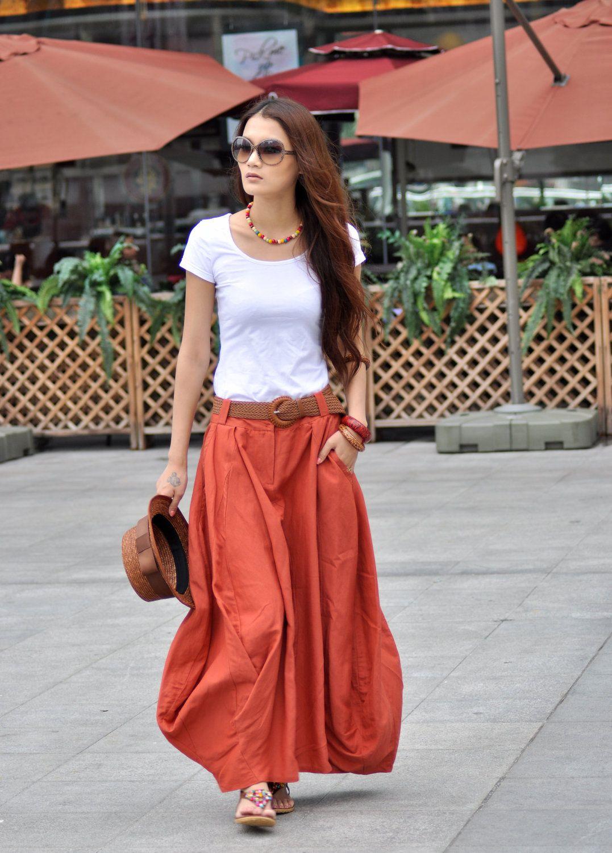 maxi skirt bud skirt in orange nc023 59 99 via