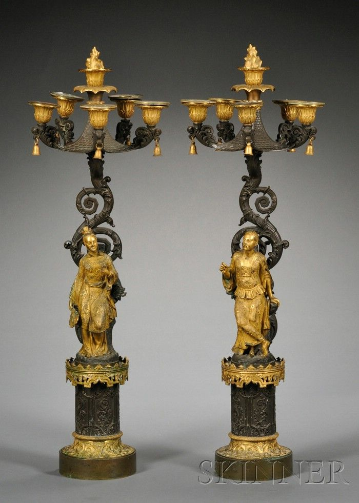Pair of Bronze and Dore Chinoiserie Five-light Candelabra