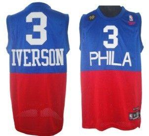 Philadelphia 76ers #3 Allen Iverson Soul Swingman Blue With Red 10TH Jersey