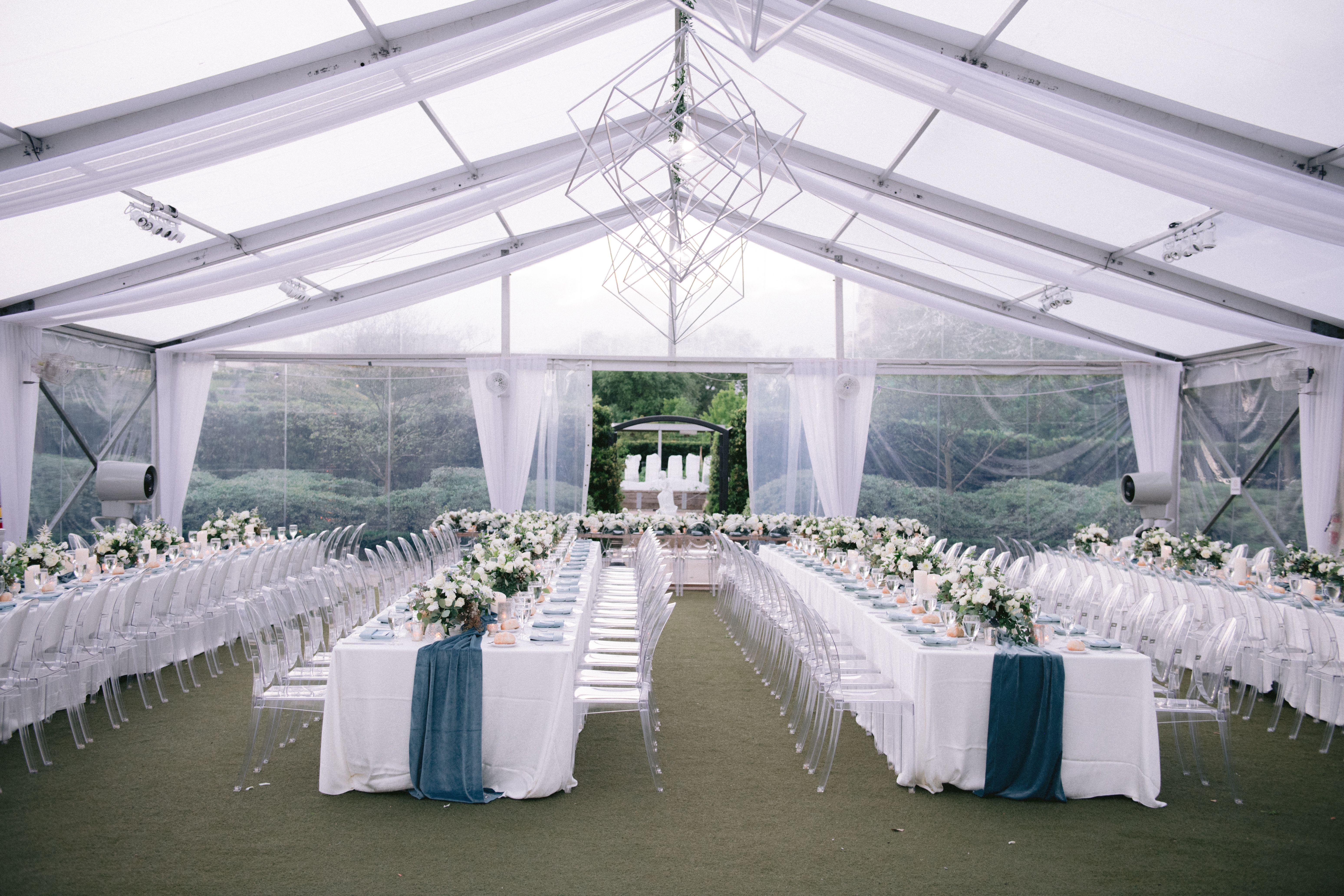 clear tent reception, long rectangle table reception