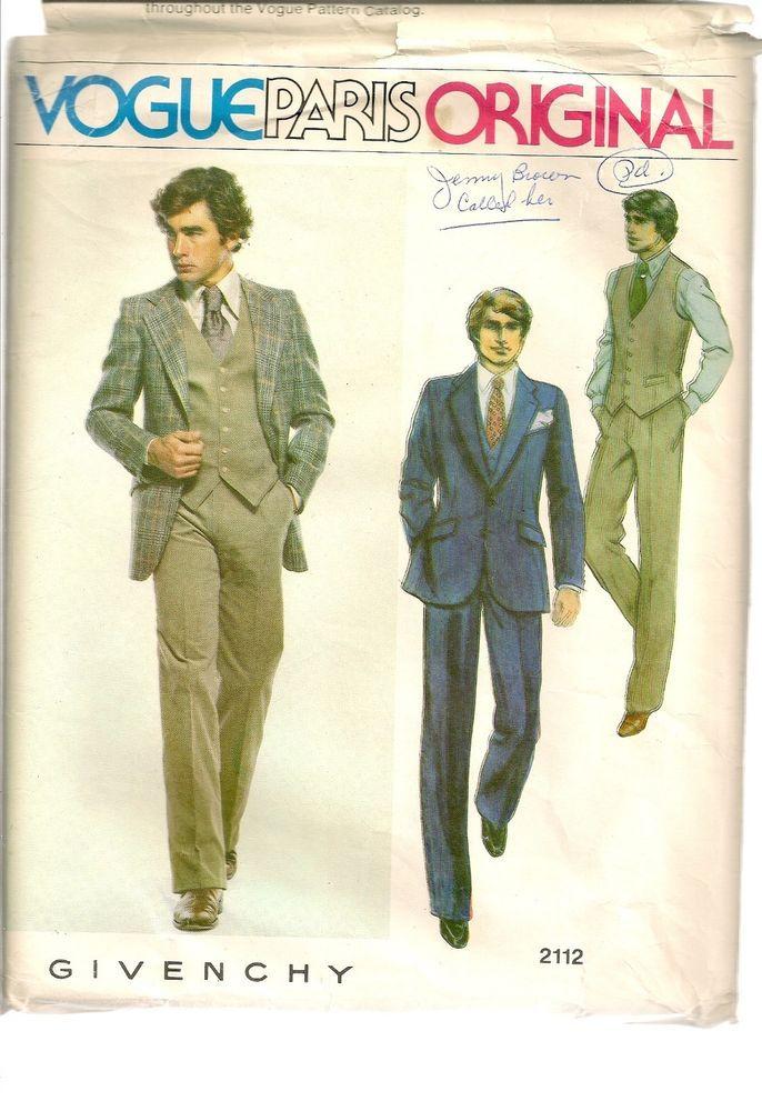 Vogue Sewing Pattern 2112 Paris Original Men\'s 3 Piece Suit Givenchy ...