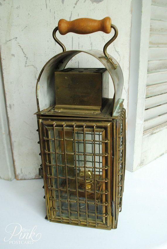 Vintage Wedge Nautical Brass Lantern A Amp T Brass Lantern
