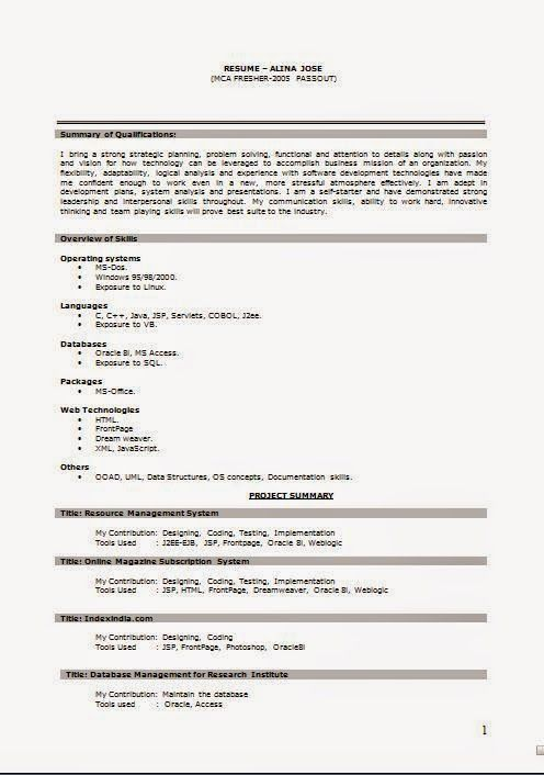 full curriculum vitae Sample Template Example of ExcellentCV - resume format for mca