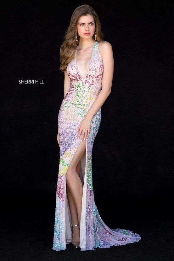 Sherri Hill Rainbow Multi Color Fitted Beaded Dress Ypsilon Dresses ...