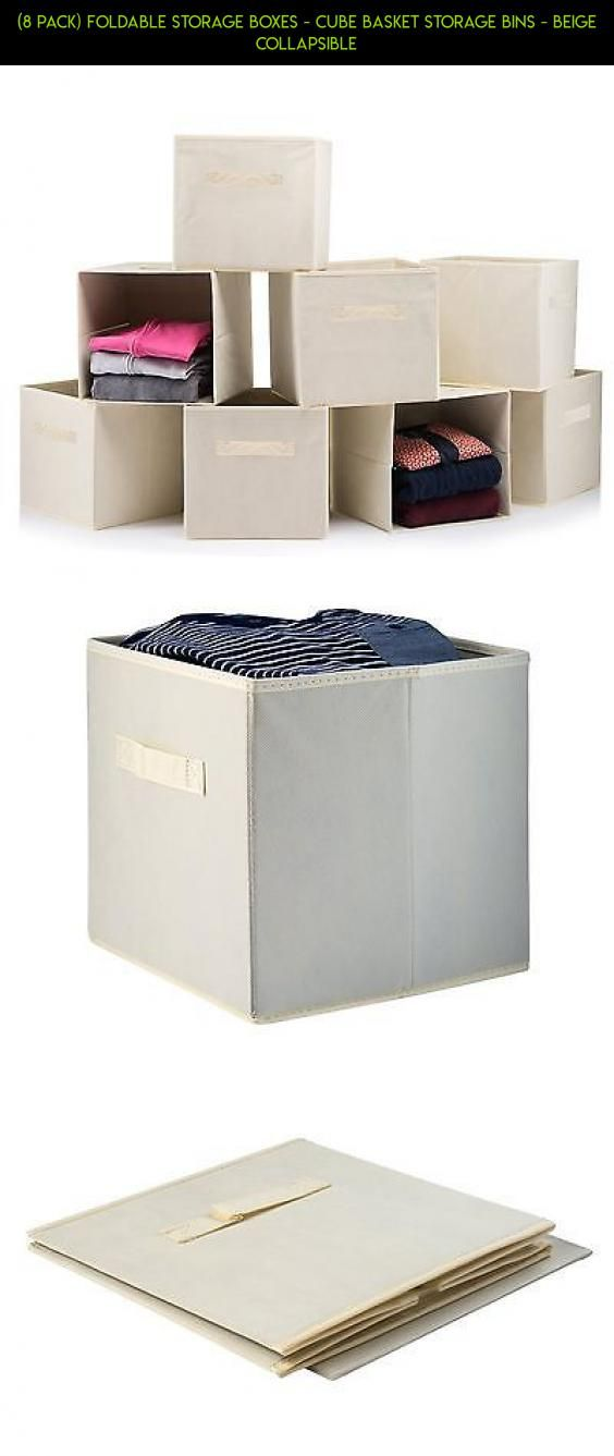 (8 PACK) Foldable Storage Boxes   Cube Basket Storage Bins   Beige  Collapsible #