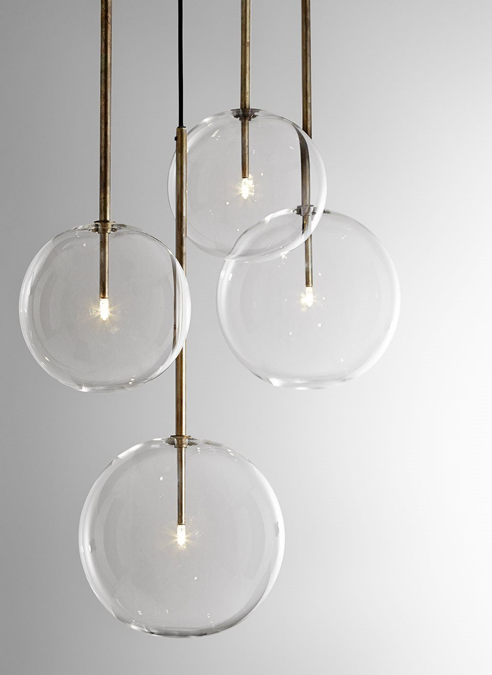 Bolle sola hanging lamp metal parts in hand burnished brass