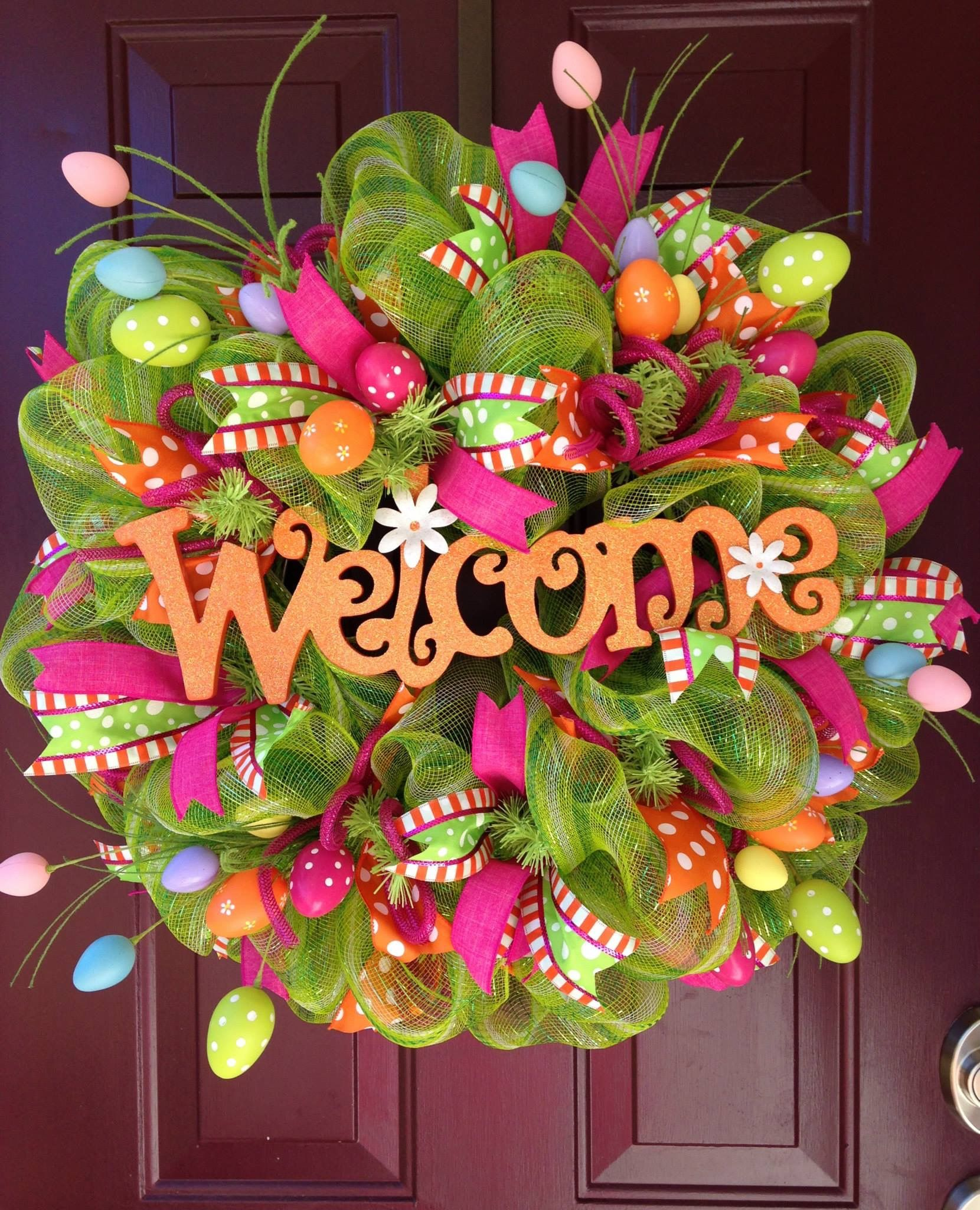 Spring Easter Wreath Easter deco mesh wreath