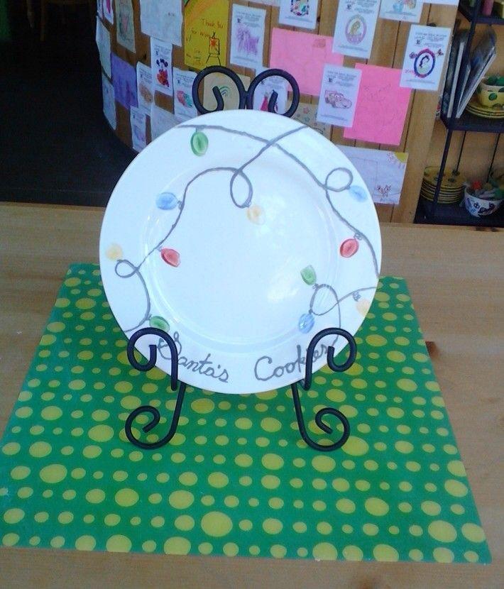 """Santa's Cookies"" Plate #christmas #pottery"