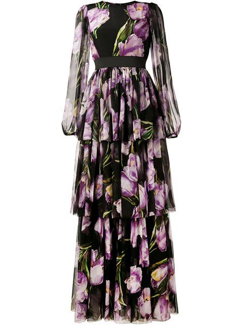 Shop Dolce & Gabbana long tulip print dress in Stefania Mode from the…