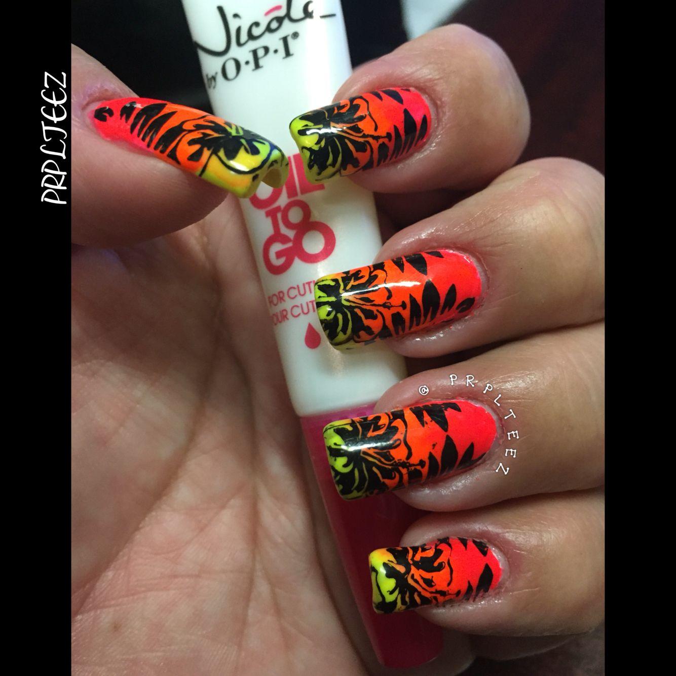 #nails #neon #nailpolish #nailstamping #MoyouLondonUK #tropical #nailaddict
