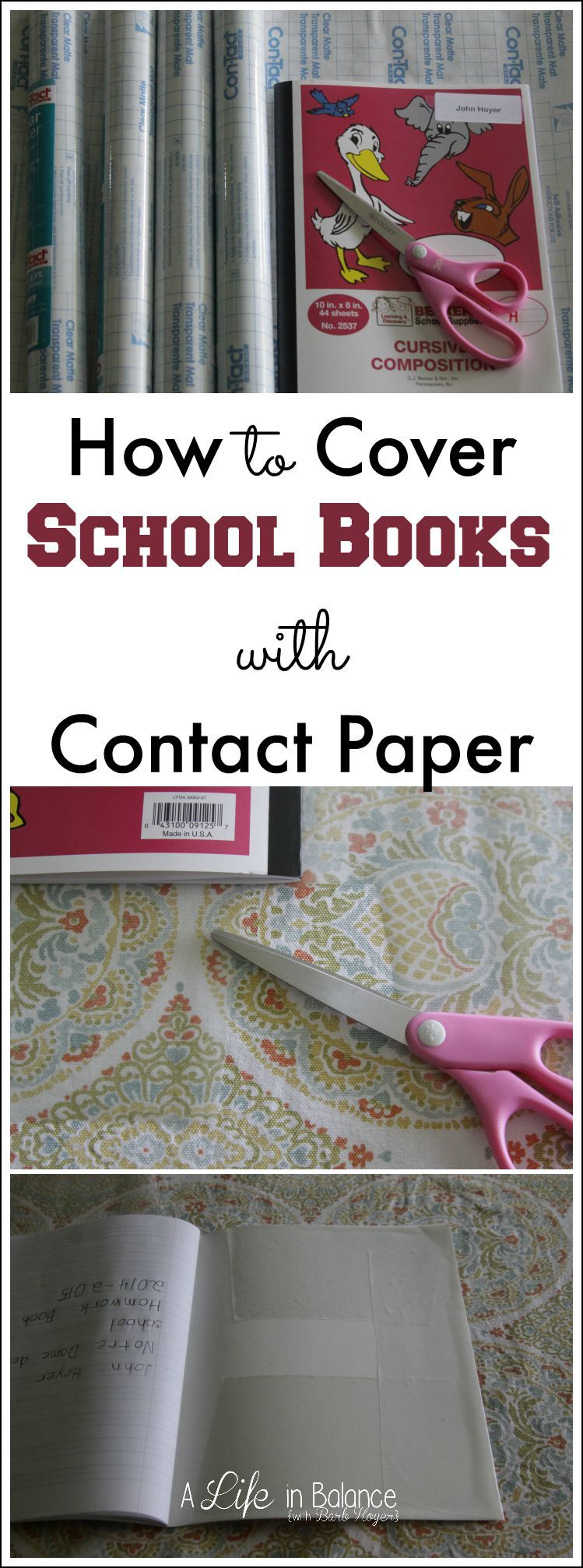 How To Cover School Books With Contact Paper Crafts Projects