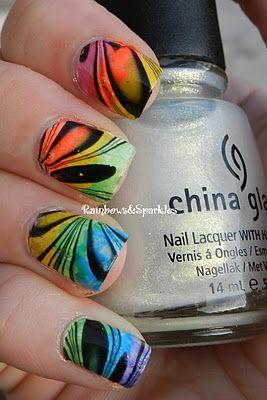 Rainbows: Neon Rainbow Gradient + Black Watermarble using China Glaze white cap