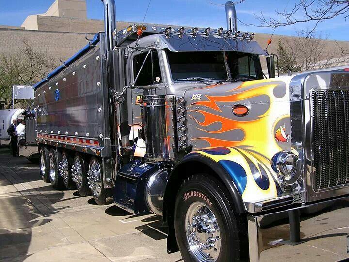 Chrome Silver Peterbuilt Multi Dump Very Unusual Nice Trucks Big Trucks Dump Trucks