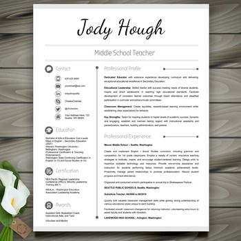 Teacher Resume Template Classic  Editable With Powerpoint And