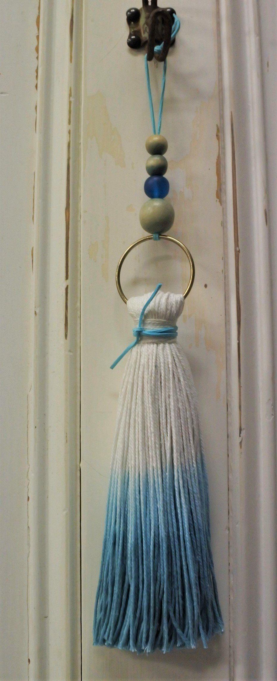Dip Dyed Tassel Boho Style Beach Decor Coastal Blue Large Cotton By Misterandmadu On Etsy