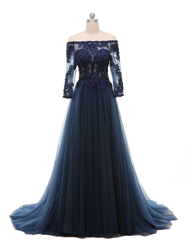 Favors womenus off shoulder a line evening dress lace long formal