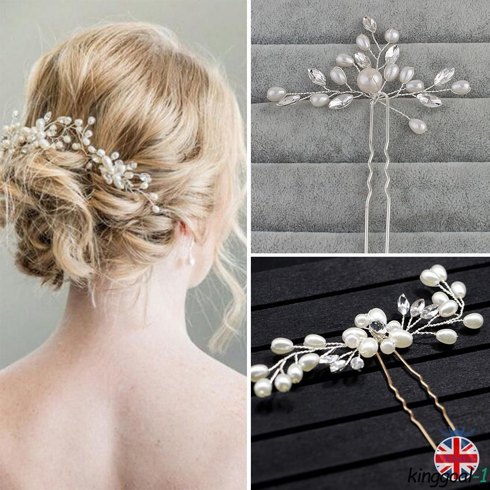 Details About Flower Wedding Hair Pins Bridesmaid Crystal Pearls