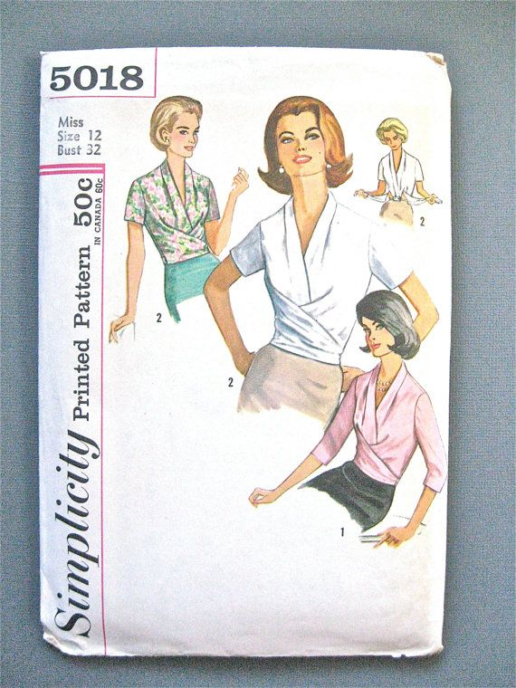 Uncut Vintage Simplicity 5018 Draped Blouse Pattern Bust 32 inches ...