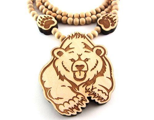 Large wooden bear w paws pendant bead chain necklace all