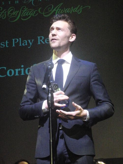 Tom Hiddleston with the award for Best Play Revival #Coriolanus #WOSAwards Via Torrilla.tumblr.com