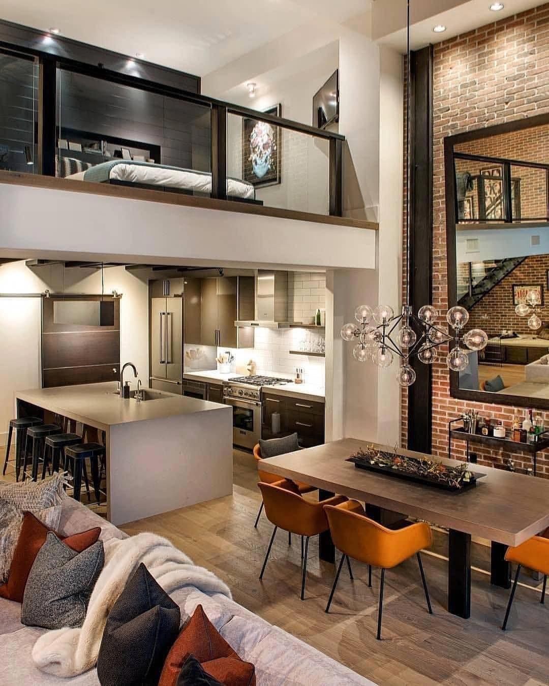 Que Maravilhoso Esse Loft Projeto Denton House Design Conheca Tambe Casaspequenas Loft Interior Design Loft Interiors Loft Living