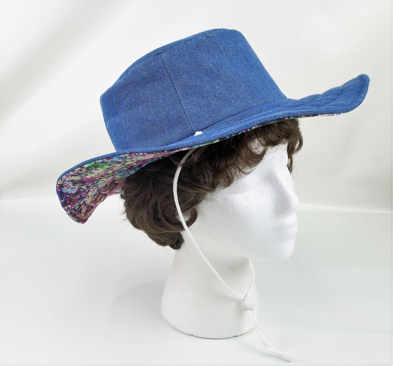 Denim Blue Hat Women Garden Red Summer Bucket Mens Cap Beach Cotton For Floppy Sun Small Brim By