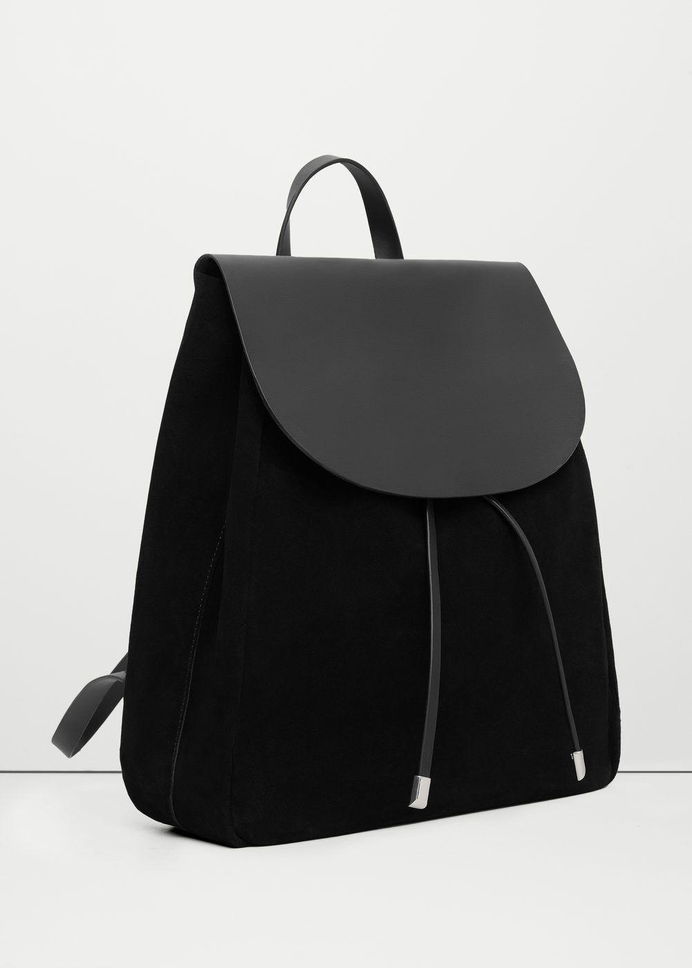Lapel leather backpack - Women  186b8c17b20d1