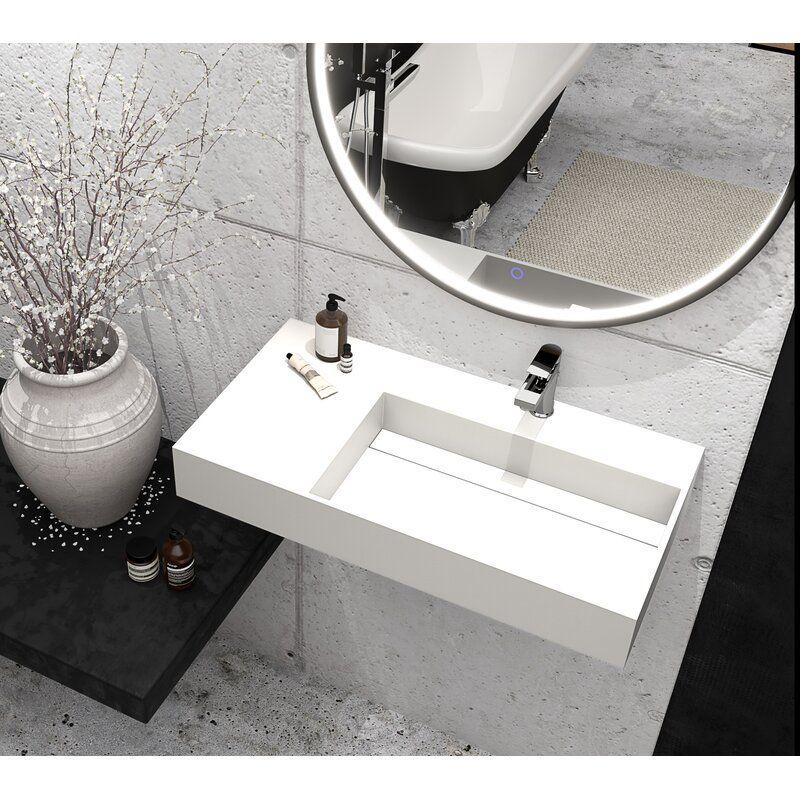 Boyter Stone Rectangular Wall Mount Bathroom Sink Wall Mounted Bathroom Sinks Sink Bathroom Sink